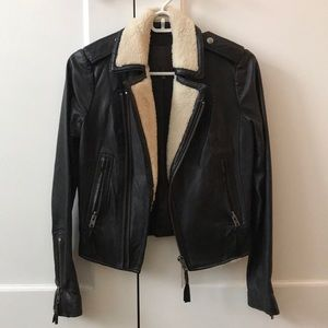Joie XS shearling collar leather jacket
